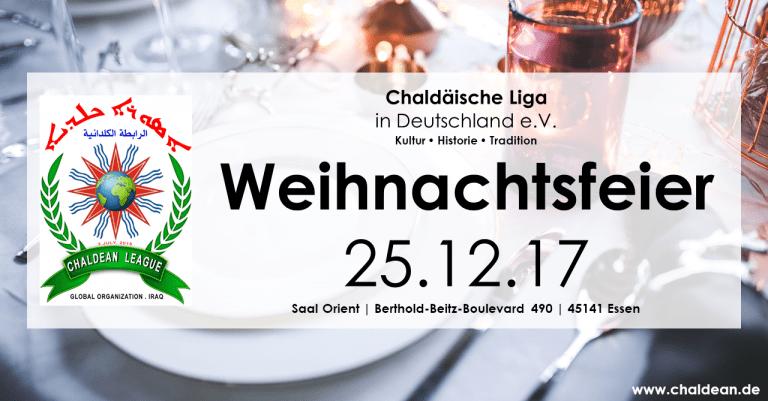 Einladung zur Weihnachtsfeier der Chaldäischen Liga